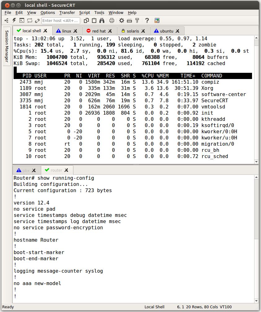 SecureCRT is a rock-solid terminal emulator with the strong encryption and authentication options of the Secure Shell protocol. SecureCRT has advanced session management features, a multi-session tabbed interface, scripting, and numerous emulations.