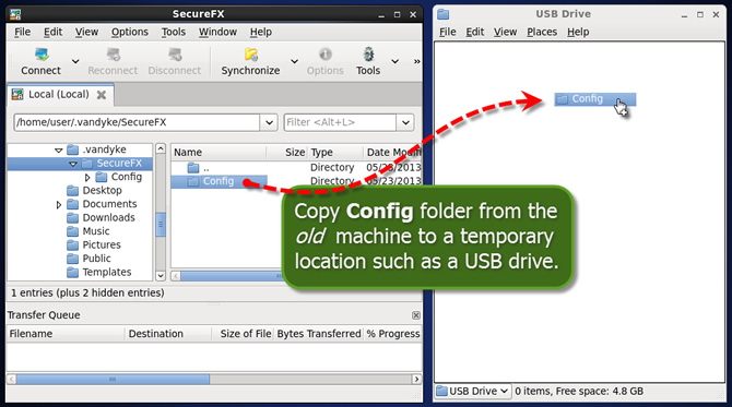 Example: Copying SecureFX for Linux configuration files from old machine to a USB drive