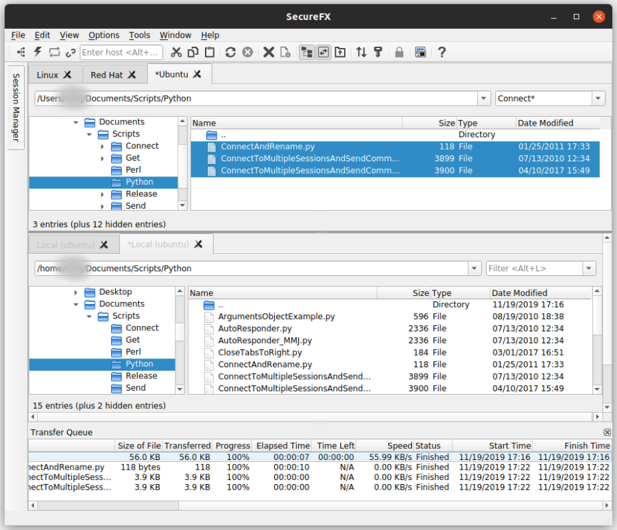 Secure file transfer client with advanced automation and configuration options.