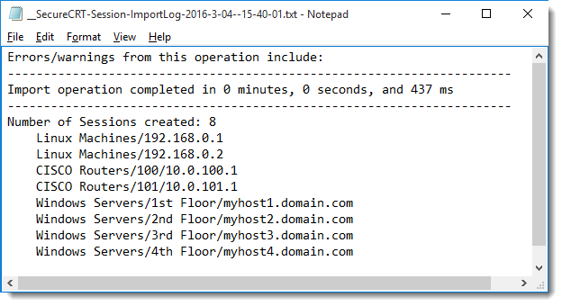 Tips - Importing SecureCRT Sessions from a Data File