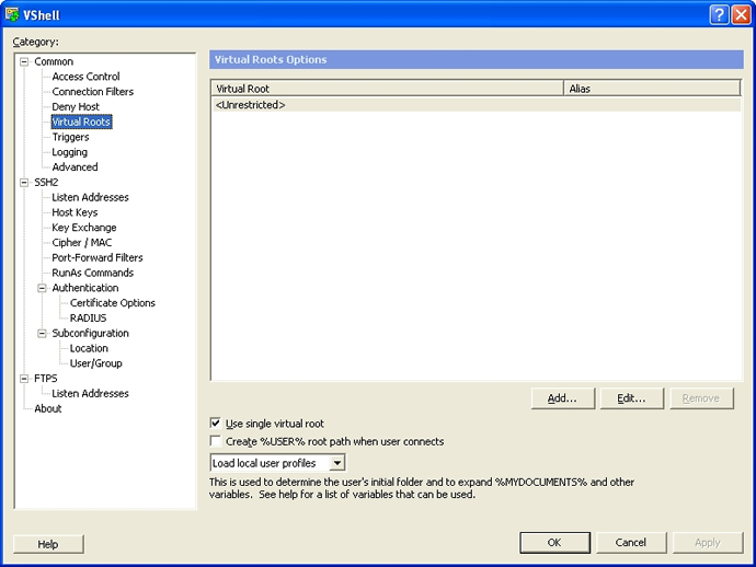 Tips - Setting user and group virtual root permissions for