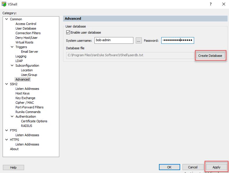 Tips - Configuring the VShell Server User Database